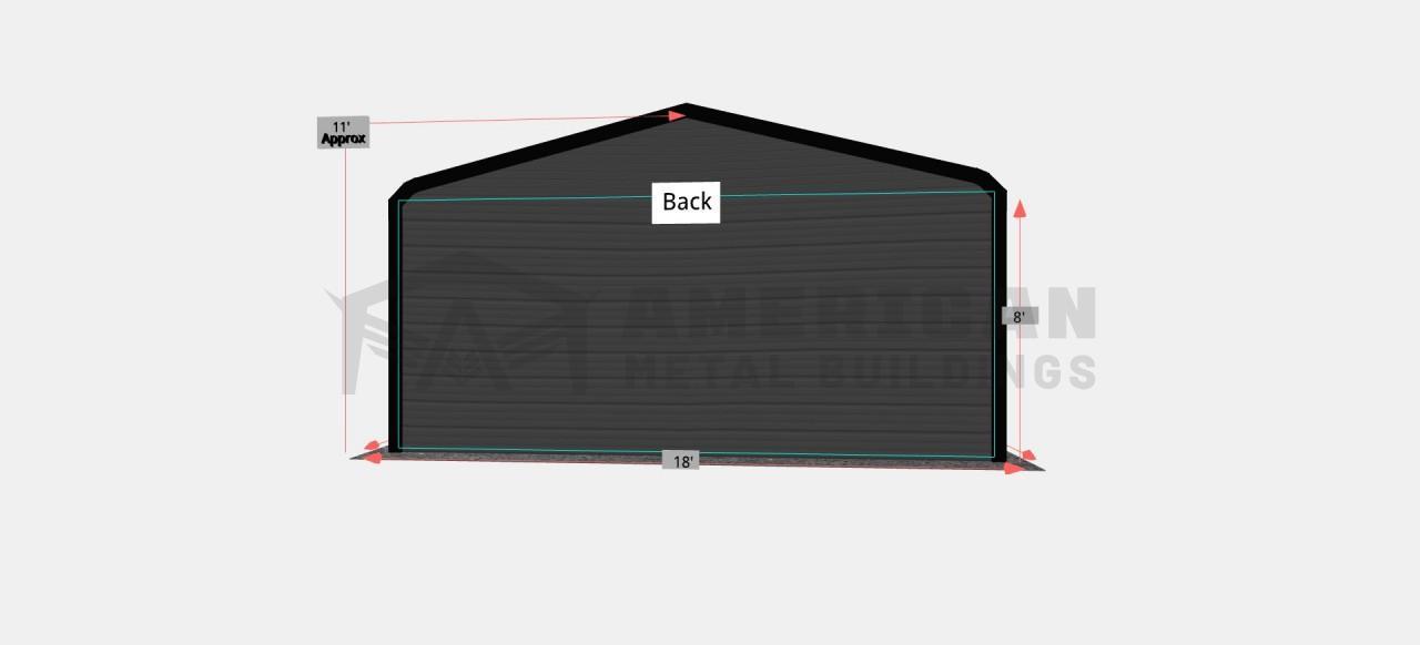 18x20 Regular Roof Metal Garage