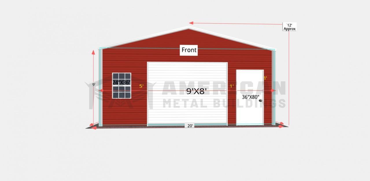 20x25 Vertical Roof Garage Building