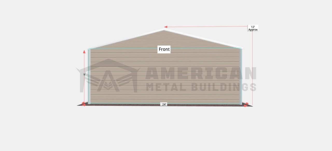 24x30 Vertical Roof Metal Garage